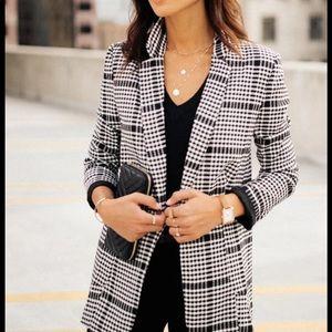 Bohme plaid blazer black and white